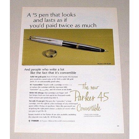 1963 Parker 45 Convertible Fountain Pen Color Print Ad