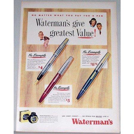 1948 Waterman's Pens Color Print Ad