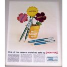 1962 Sheaffer's Fountain Pen Set Color Print Ad