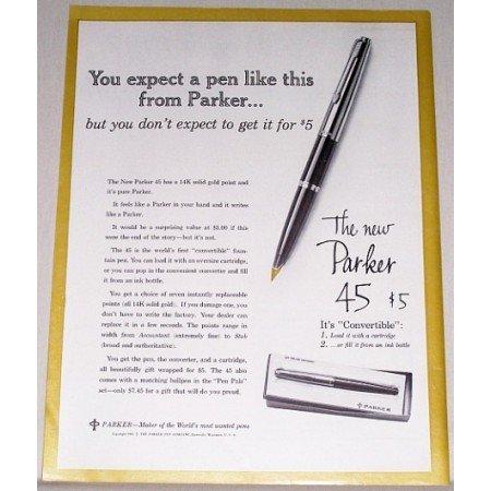 1962 Parker 45 Fountain Pen Color Print Ad