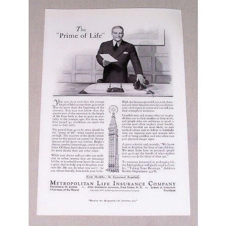 1937 Metropolitan Life Insurance Company Print Ad