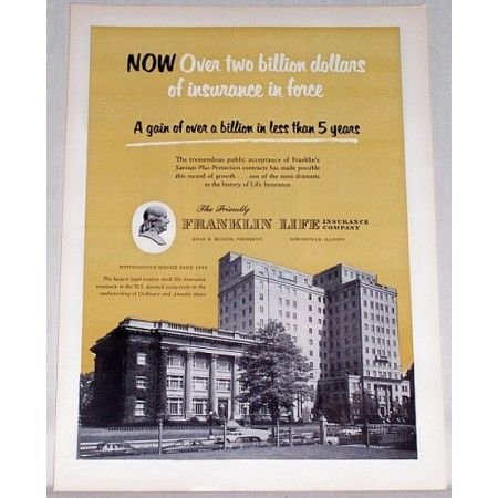 1955 Franklin Life Insurance Company Color Print Ad