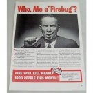 1948 Underwriters Fire Prevention Print Ad - Who Me A Fire
