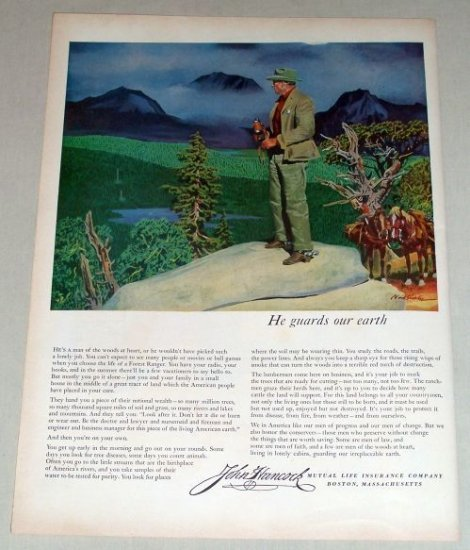 1953 John Hancock Insurance olor Art Print Ad - Guards Our Earth