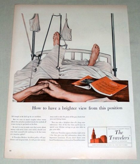 1953 Travelers Insurance Hospital Underhill Art Color Print Ad