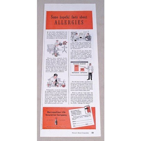 1949 Metropolitan Life Insurance Print Ad - Allergies Facts