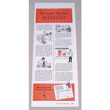 1949 Metropolitan Life Insurance Print Ad - Allergies Facts