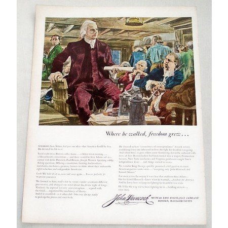 1956 John Hancock Life Insurance Stubborn Sam Adams Art Color Print Ad