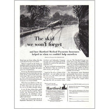 1957 Hartford Insurance Company Print Ad - The Skid We Won't Forget
