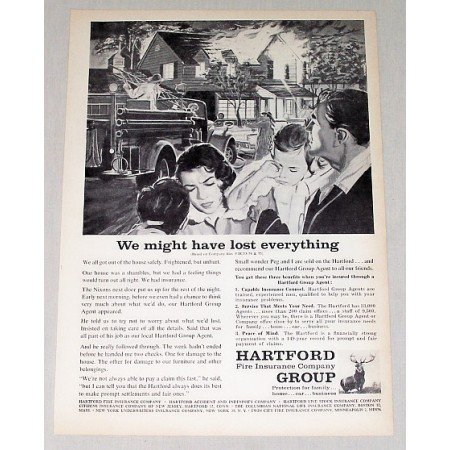 1959 Hartford Group Insurance Fire Fighter Art Print Ad