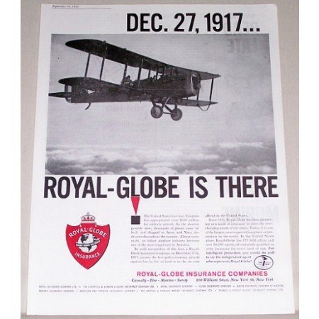 1961 Royal Globe Insurance Company Aircraft Double Wing Plane Insurance Print Ad
