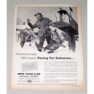 1956 New York Life Insurance Winter Art Print Ad - Racing For Deliveries