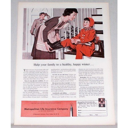 1959 Metropolitan Life Insurance Color Art Print Ad - Help Your Family
