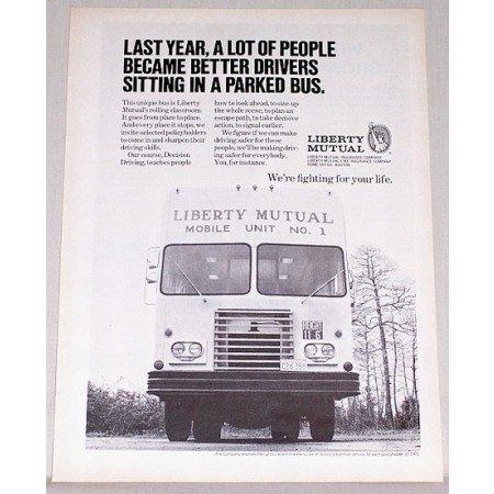 1972 Liberty Mutual Insurance Mobil Unit No. 1 Bus Print Ad