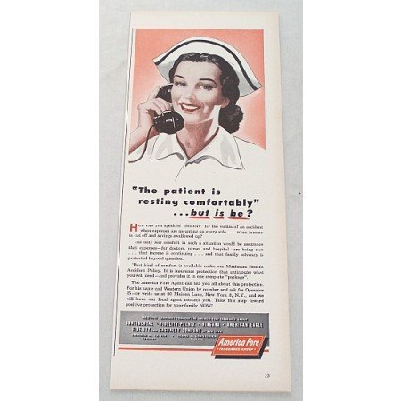 1948 America Fore Insurance Group Nurse On Phone Art Color Print Ad