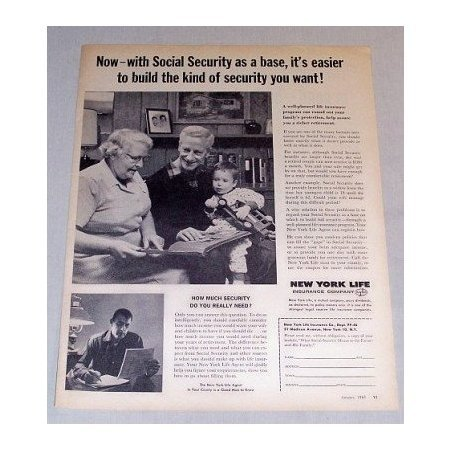 1961 New York Life Insurance Social Security Print Ad