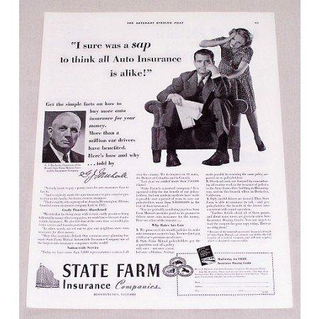 1940 State Farm Insurance Company Print Ad - I Sure Was A Sap