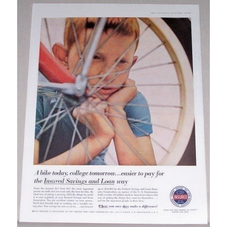 1958 Insured Savings and Loan Color Print Ad - Bike Today College Tommorrow