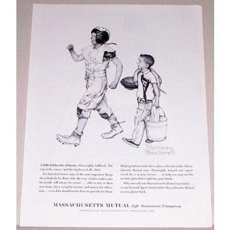 1961 Massachusetts Mutual Insurance Football Norman Rockwell Sketch Art Print Ad
