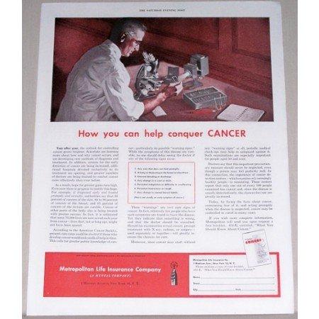 1952 Metropolitan Life Insurance Company Color Art Print Ad - Help Conquer Cancer