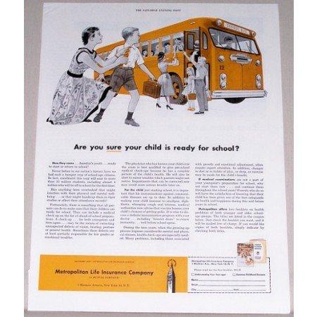 1955 Metropolitan Life Insurance Company Children School Bus Art Color Print Ad