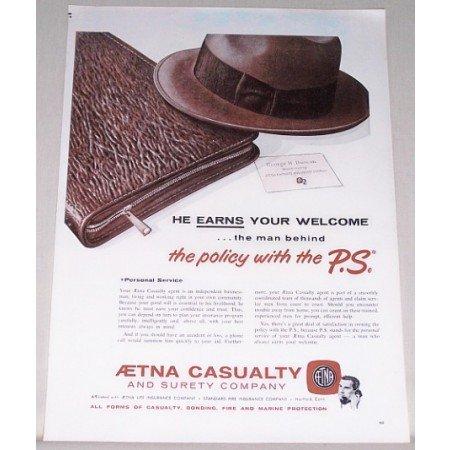 1962 Aetna Casualty and Surety Company Insurance Color Print Ad