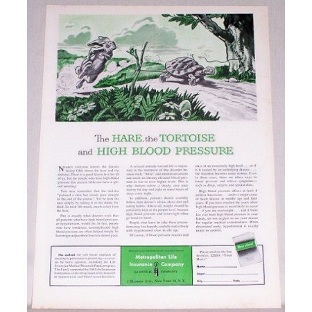 1953 Metropolitan Life Insurance Rabbit Turtle Art Print Ad Ad - Hair Tortoise High Blood Pressure