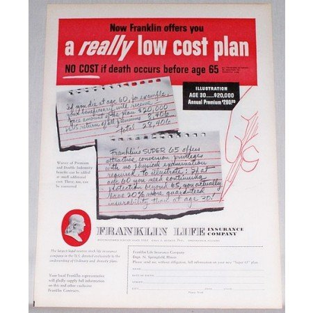 1956 Franklin Life Insurance Super 65 Plan Color Print Ad