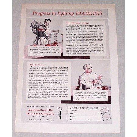 1949 Metropolitan Life Insurance Print Ad - Fighting Diabetes