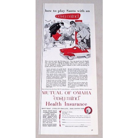 1956 Mutual of Omaha Health Insurance Childs Pedal Car Toy Art Color Print Ad