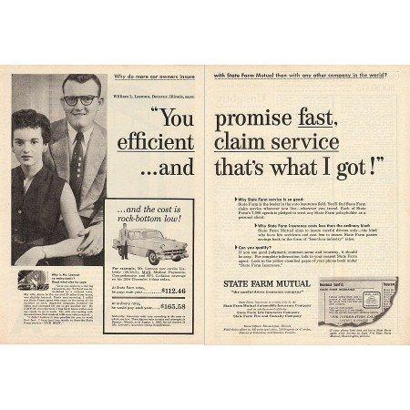 1955 State Farm Insurance Decatur Illinois 2 Page Print Ad