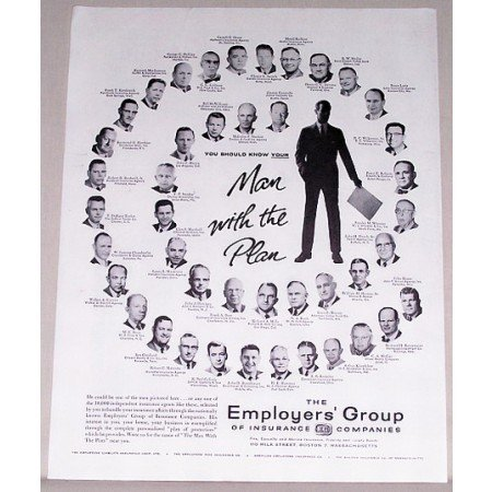 1957 Employers Group Insurance Print Ad - Man With The Plan
