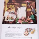 1948 Beer Belongs Series #14 Color Brewery Art Print Ad A SNACK AFTER THE MOVIES