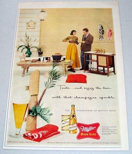 1957 Miller High Life Beer Color Print Ad TASTE AND ENJOY