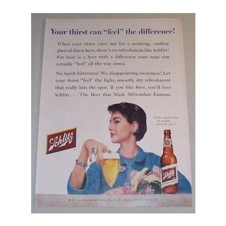 1955 Schlitz Beer Color Print Brewery Ad - Feel The Difference