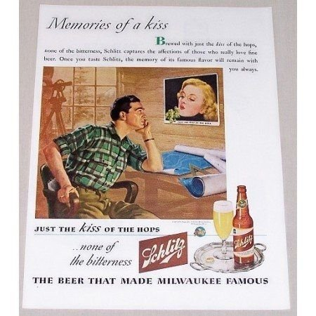 1944 Schlitz Beer Rosen Art Color Brewery Print Ad - Memories Of A Kiss
