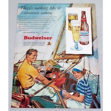 1949 Budweiser Beer Sailboat Sailing Color Art Print Ad