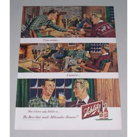 1949 Schlitz Beer Fireplace Winter Cabin Art Color Print Ad