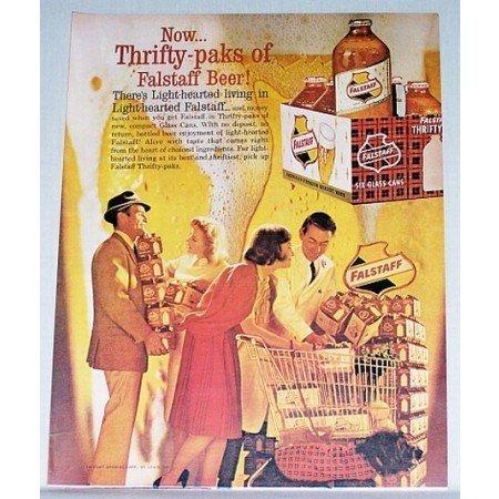 1962 Falstaff Beer 6 Pack Bottle Display Color Print Ad