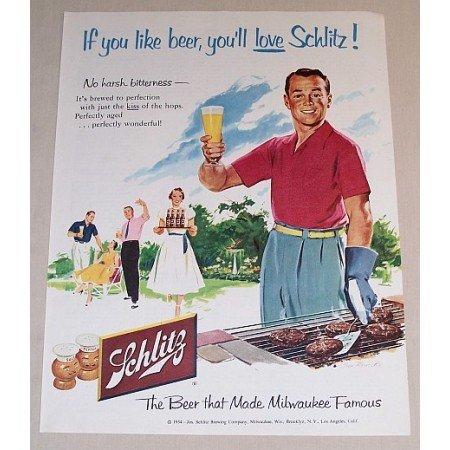 1954 Schlitz Beer Outdoor Cookout Art Color Print Ad