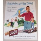 1954 Schlitz Beer Outdoor Cookout Art Color Print Ad
