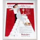 1956 Budweiser Beer Color Art Print Ad - What A Kiss I Got