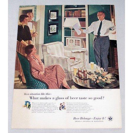 1956 Beer Belongs Series #119 Color Art Print Ad - Dad Rehearses His Speech