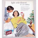 1956 Schlitz Beer Color Christmas Art Print Ad - Light Refreshment