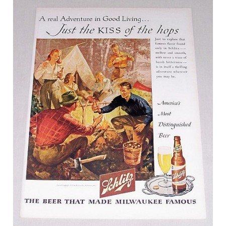 1946 Schlitz Beer Outdoor Camping Art Color Print Ad