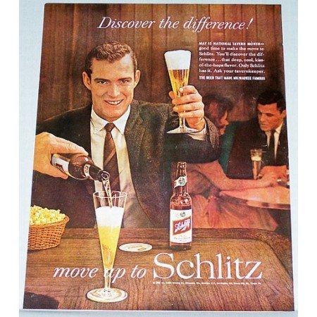 1961 Schlitz Beer Color Print Ad - National Tavern Month