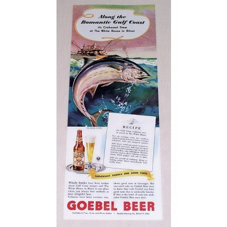 1944 Goebel Beer Color Fishing Art Print Ad - Romantic Gulf Coast