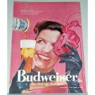 1958 Budweiser Beer Color Print Ad - Who Needs Disguises