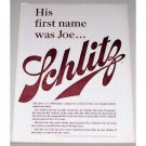 1961 Schlitz Beer Color Print Ad - First Name Was Joe