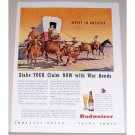 1944 Budweiser Beer Stage Coach Horses Western Art Color Print Ad - Stake Your Claim Now
